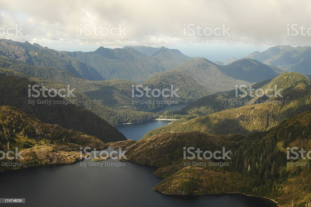 Aerial view of Queen Charlotte Islands BC stock photo