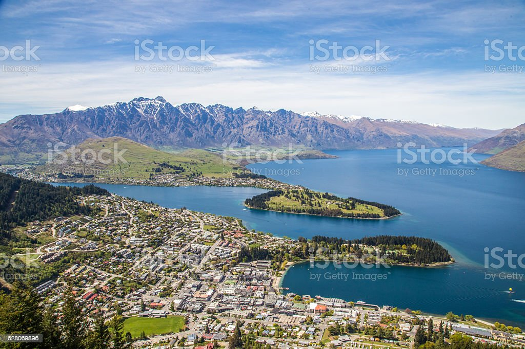 Aerial view of Queenstown and The Remarkables in South Island stock photo
