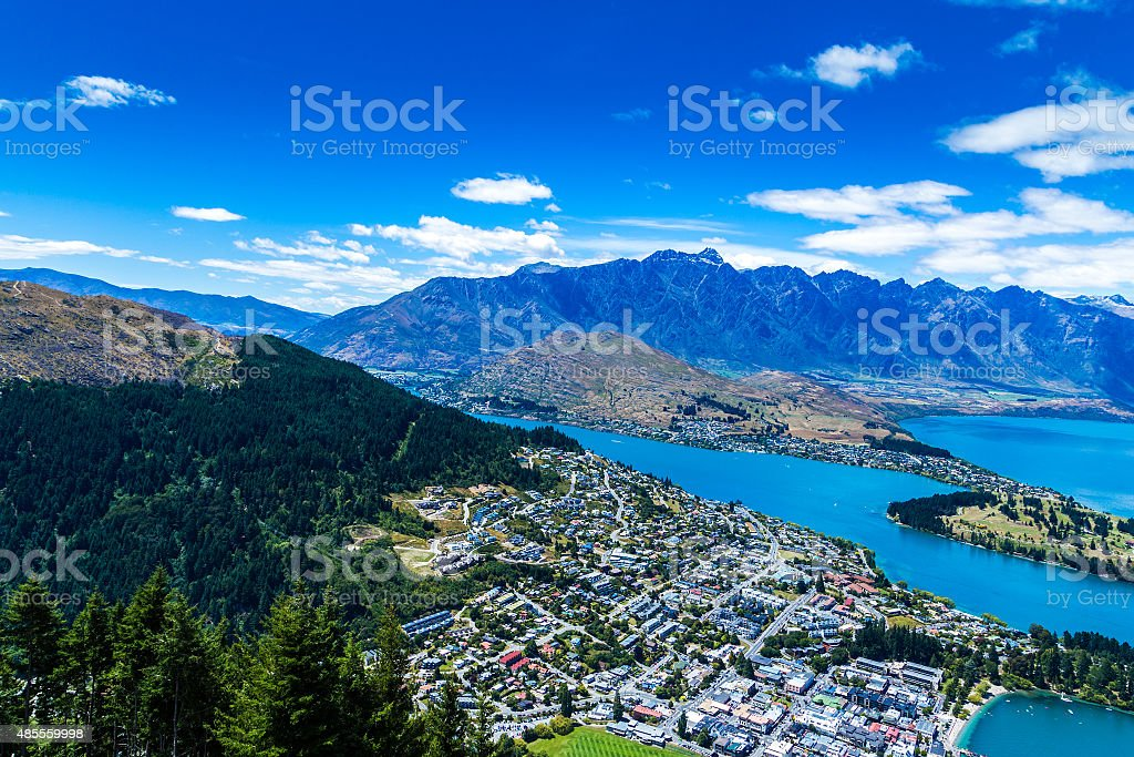 Aerial view of Queenstown Valley, New Zealand stock photo
