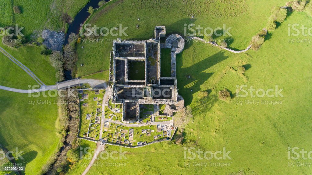 Aerial View Of Quin Abbey, County Clare, Ireland. stock photo