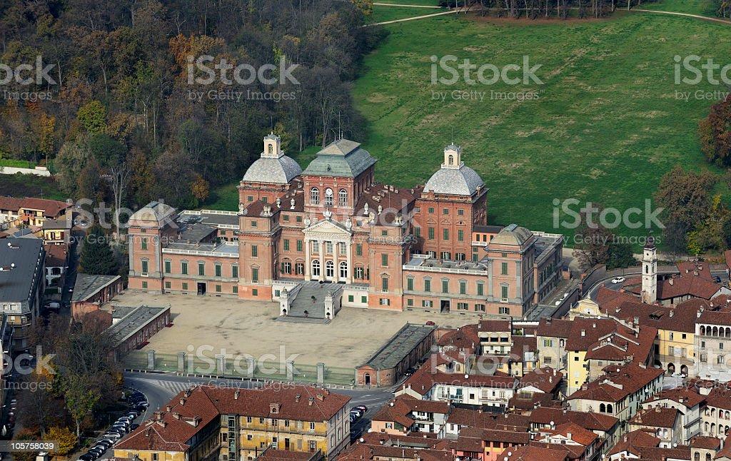 Aerial view of Racconigi Castle, Turin, Piedmont stock photo