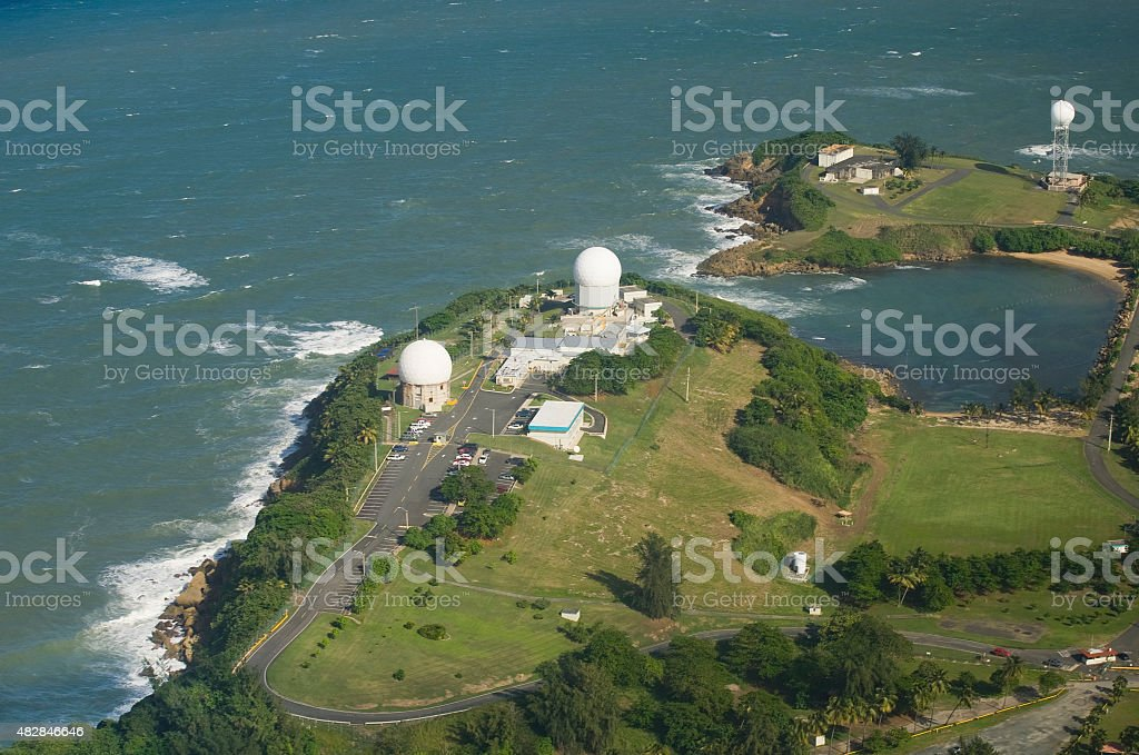 Aerial view of Radome antenna Northern Puerto Rico stock photo