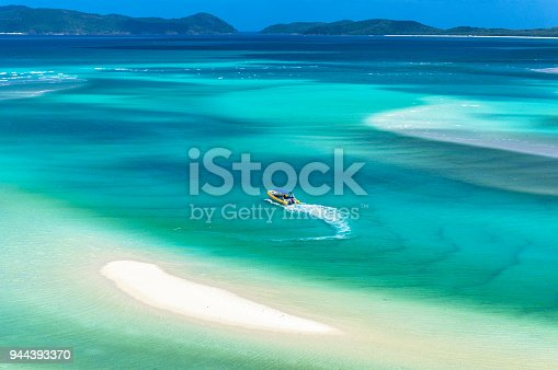 istock Aerial view of rafting boat on turquoise blue water 944393370