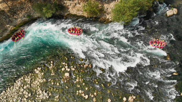 Aerial View of Rafting in River stock photo