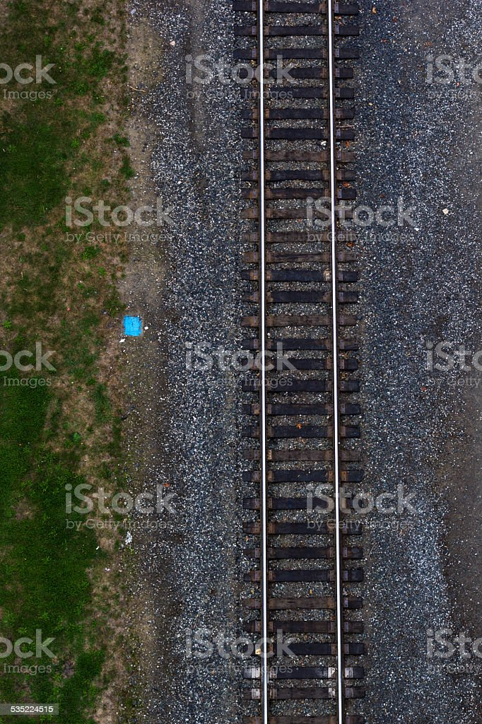 Aerial view of rail road tracks stock photo