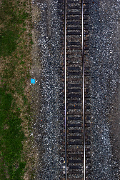 Aerial view of rail road tracks Aerial view of straight train tracks. tramway stock pictures, royalty-free photos & images