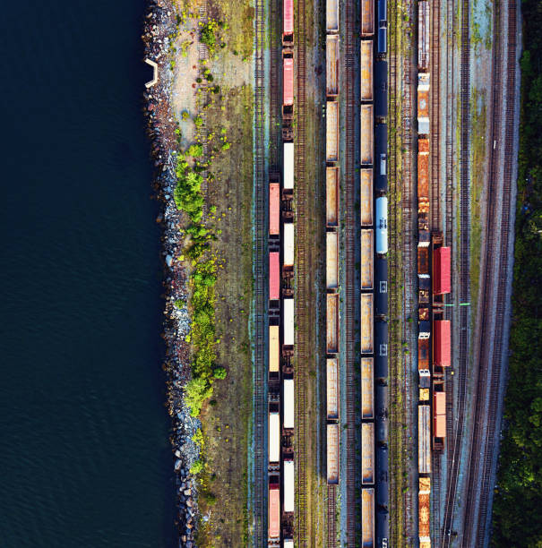 Aerial View of Rail Yard stock photo