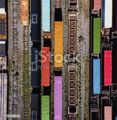 Aerial drone view of a large rail yard.