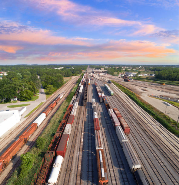aerial view of railroad rail yard, many trains, tracks. - rail stock photos and pictures
