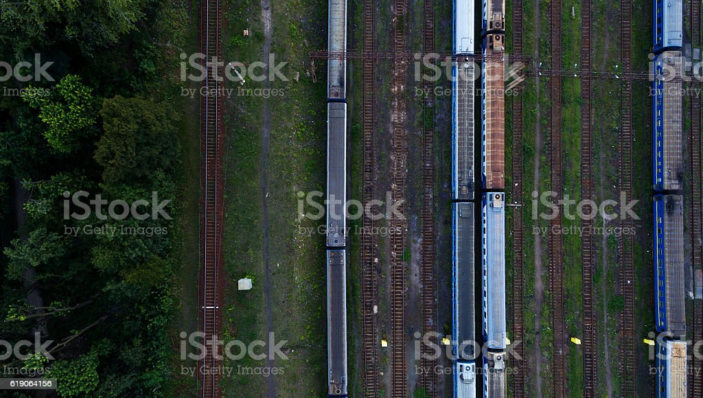 Aerial view of railroad station. stock photo