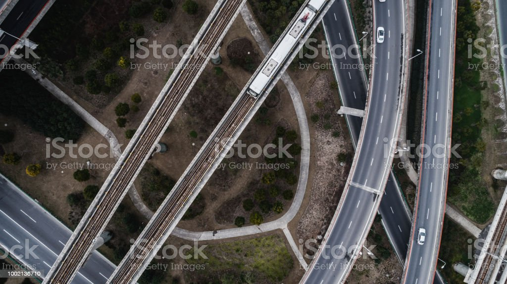 Aerial view of railway, highway and overpass on Luoshan road, Shanghai
