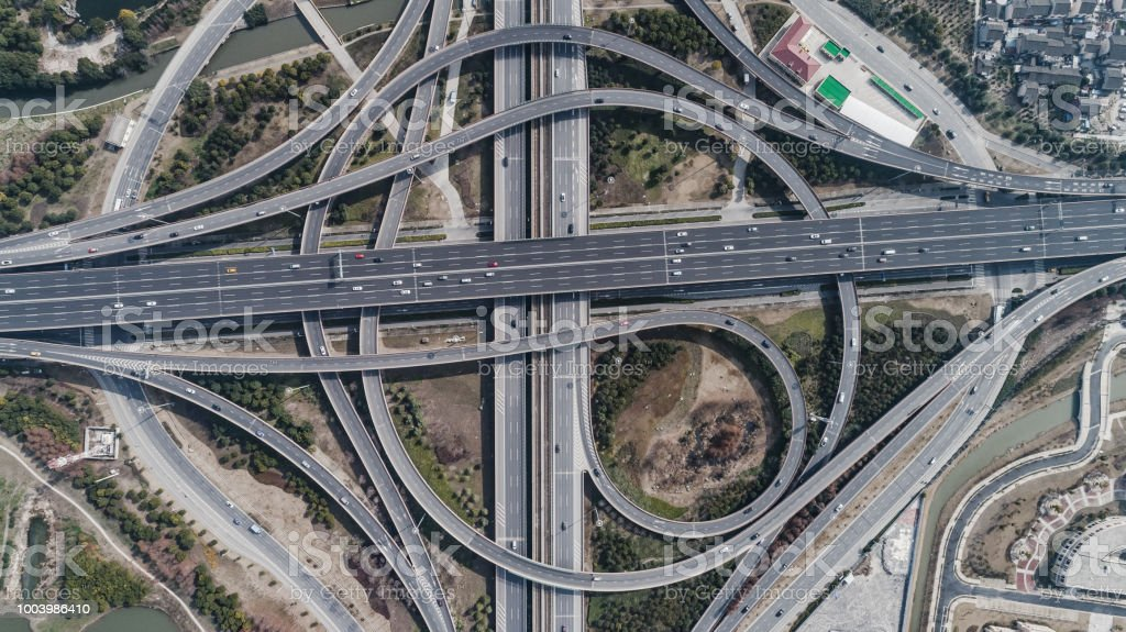 Aerial view of railway, highway and overpass on Middle Huaxia road,...