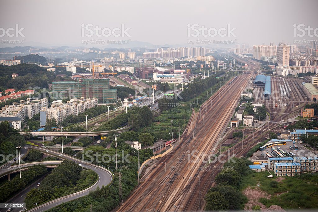 Aerial View of Railway Station in Guangzhou, China stock photo