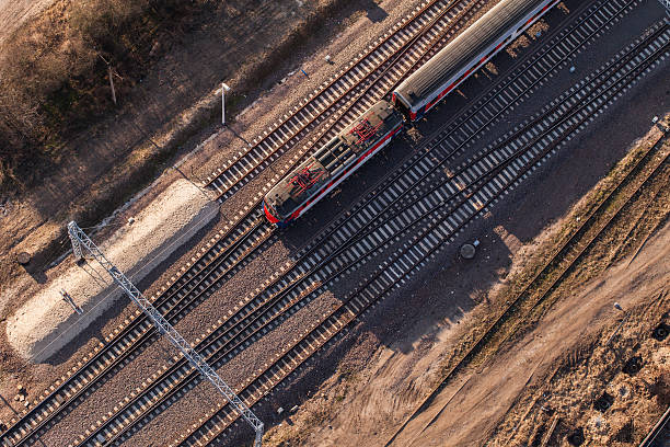 aerial view of railway station - rail stock photos and pictures