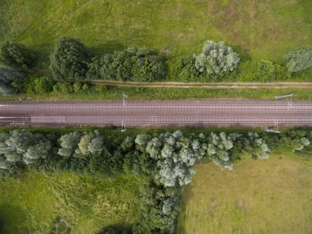 vue aérienne de chemin de fer suivi dans une zone rurale en allemagne - transport ferroviaire photos et images de collection