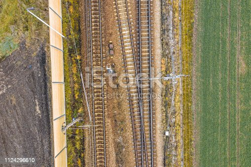 Aerial view of railroad