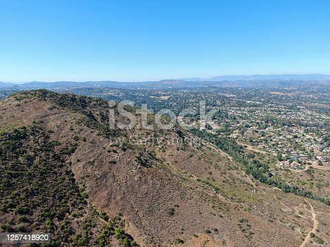 Aerial view of Rancho Bernardo town and mountain with great hiking trail, East San Diego County, California, USA