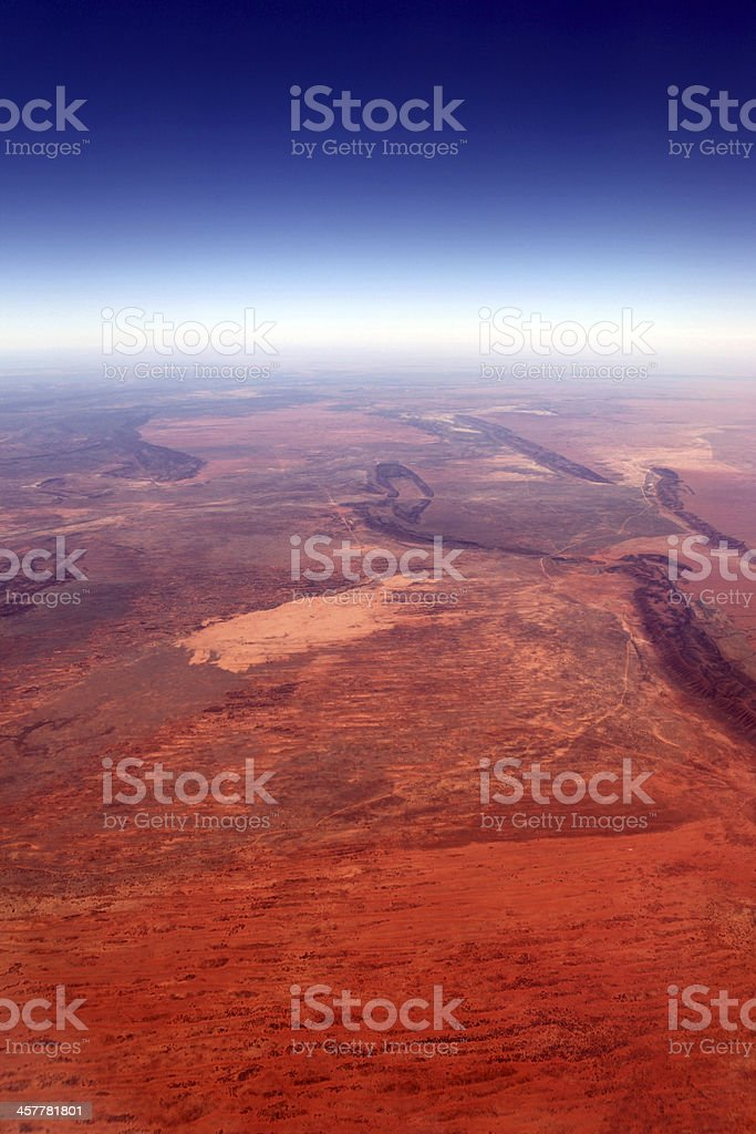 Aerial View of Red Australian Aboriginal Land of Northern Territory stock photo