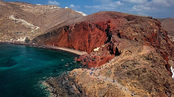 High up view of famous Red Beach, Santorini, Greece