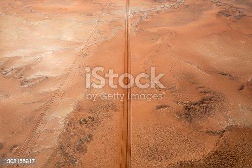 istock Aerial view of red centre desert region 1308155617