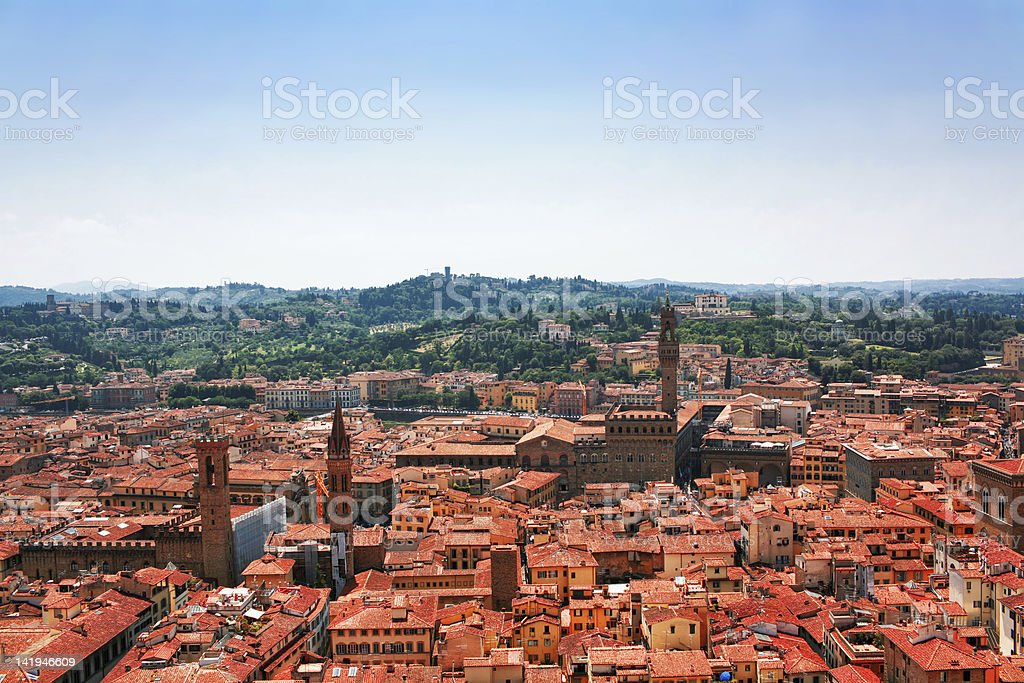 Aerial view of red roofs in Florence. Italy royalty-free stock photo