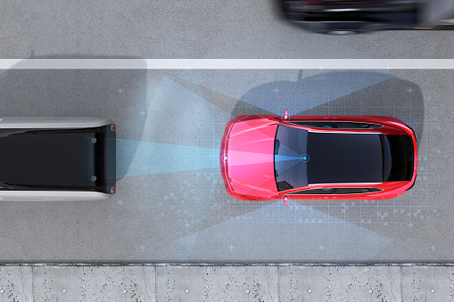 istock Aerial view of red SUV emergency braking to avoid car crash 960714156