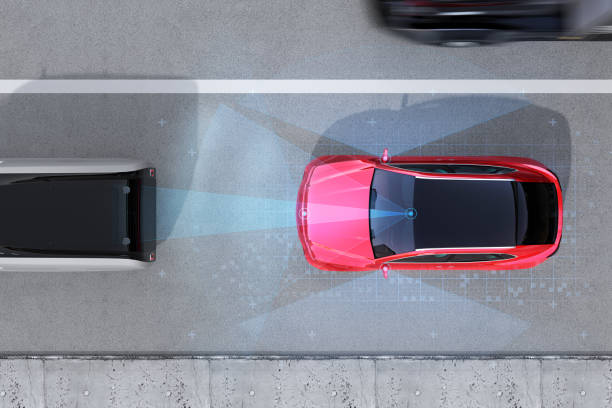 Aerial view of red SUV emergency braking to avoid car crash stock photo