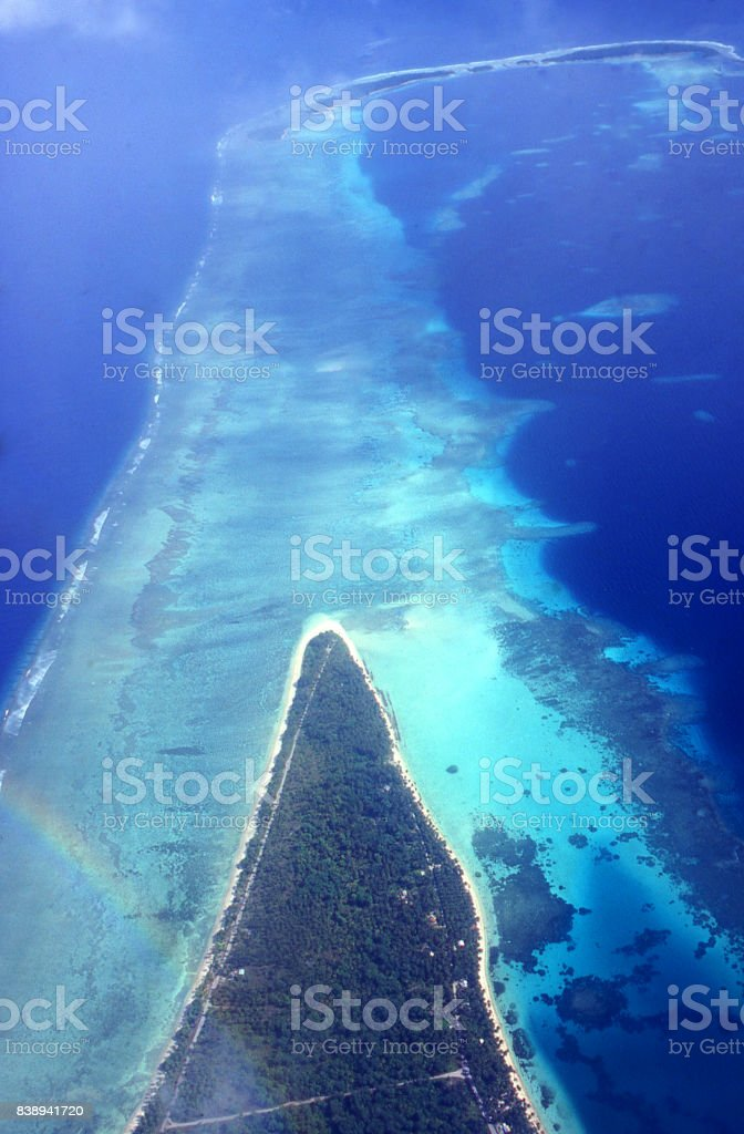 Aerial view of reefs and ocean along edge of atoll near Kwajalein in the Marshall Islands Asia-Pacific stock photo