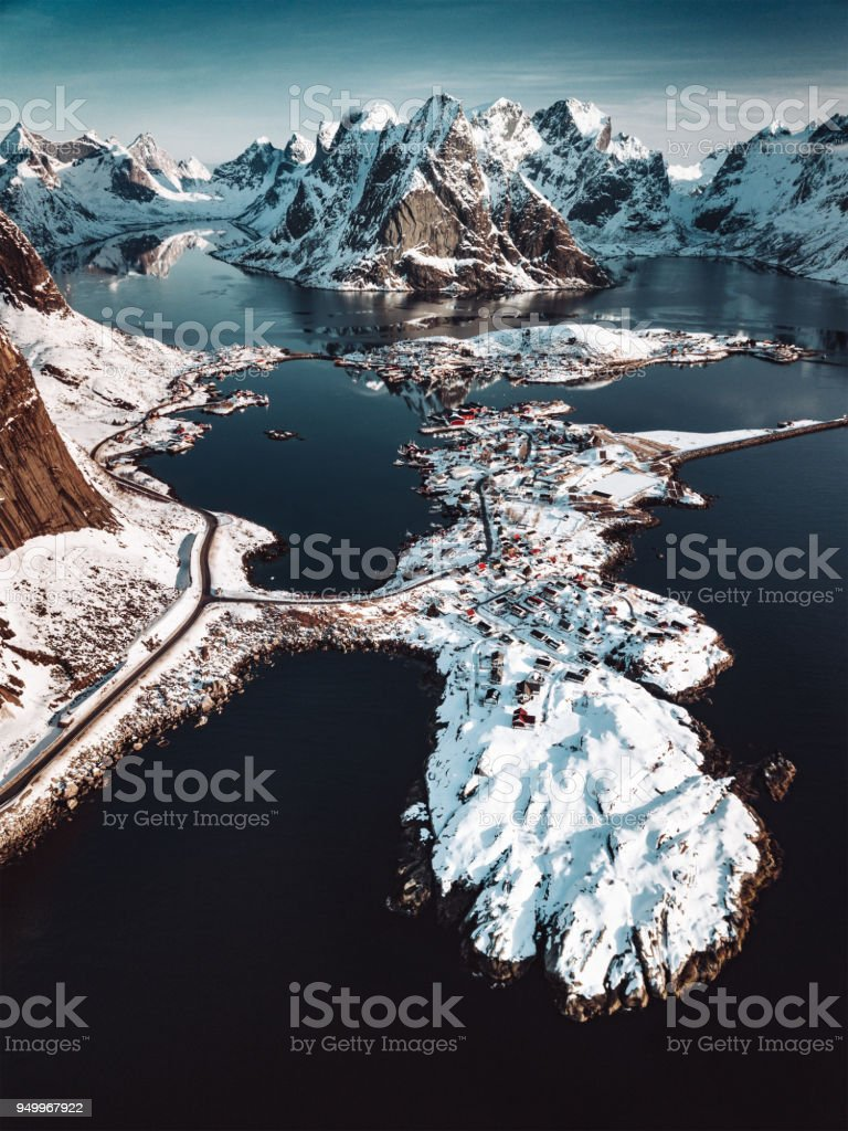 aerial view of Reine in Norway stock photo