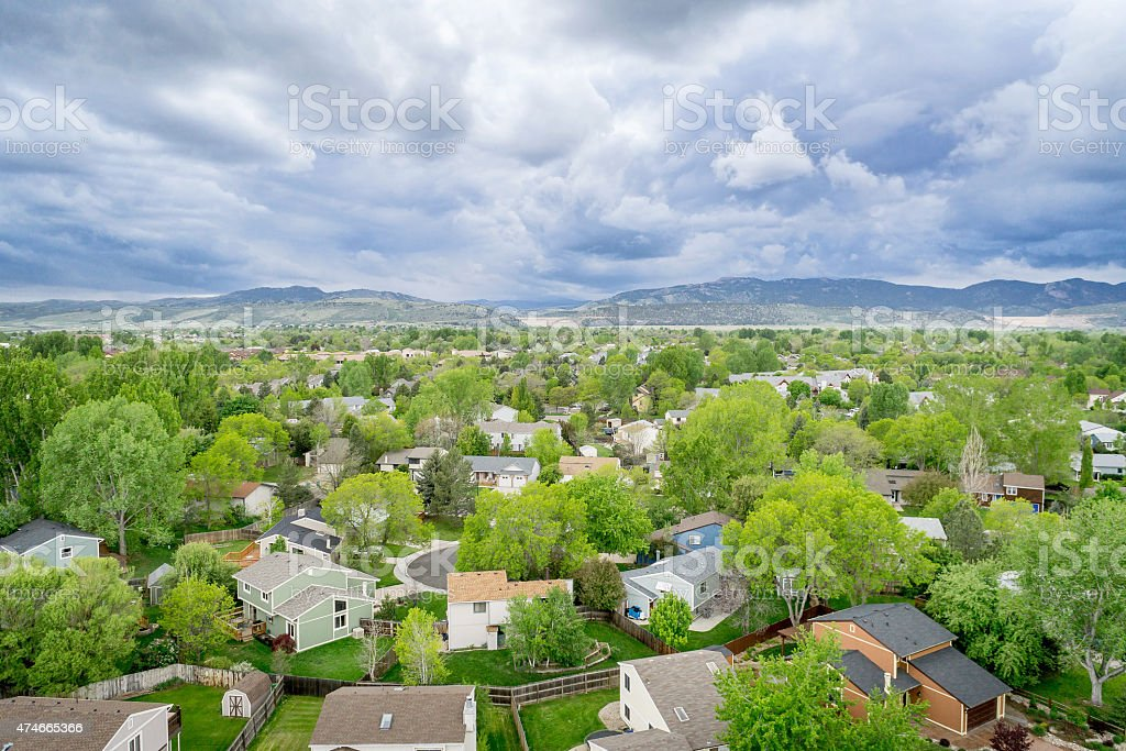 aerial view of resdential area and foothills stock photo