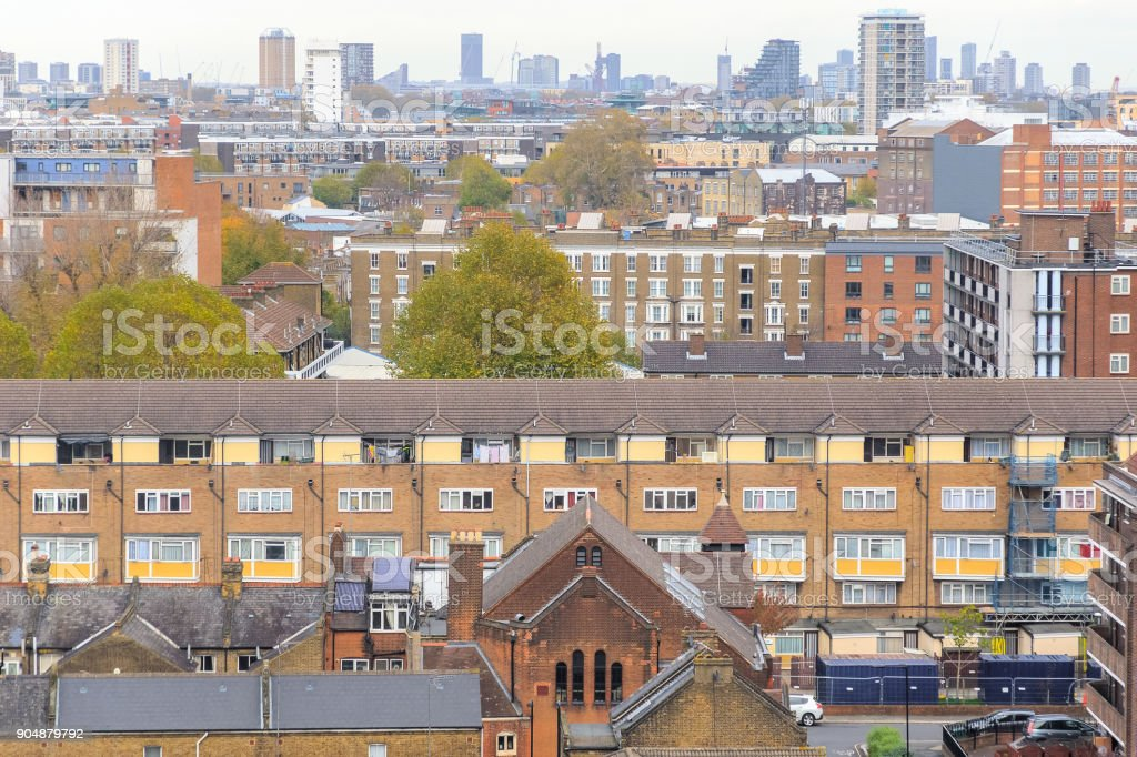 Aerial view of residential area in London stock photo