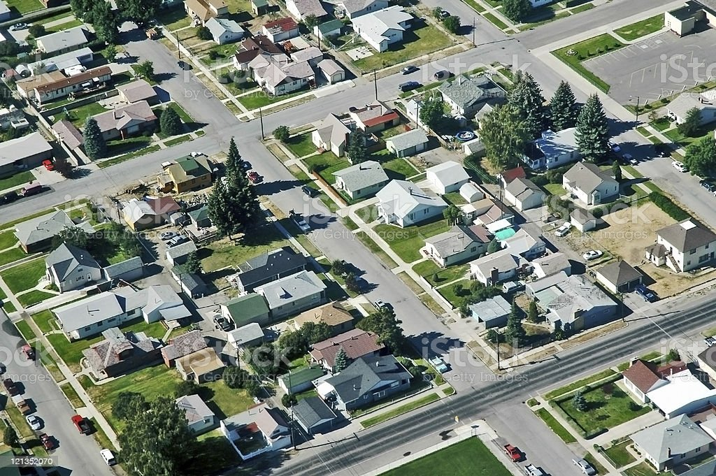 Aerial View of Residential Area in Montana USA royalty-free stock photo