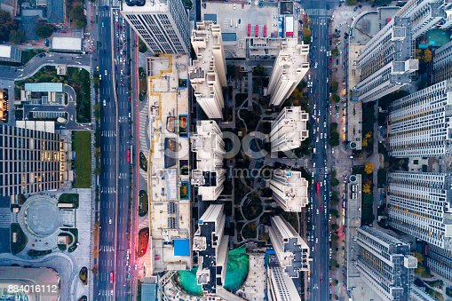 istock Aerial view of residential building 884016112