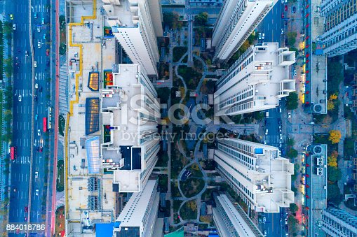 istock Aerial view of residential building 884018786