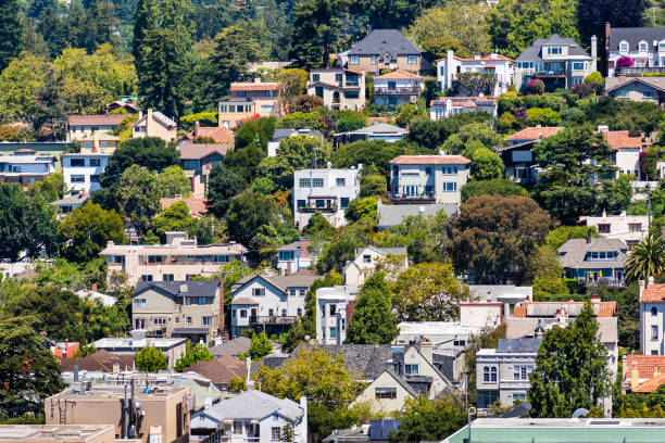 Aerial view of residential neighborhood built on a hill, Berkeley, San Francisco bay, California; Aerial view of residential neighborhood built on a hill, Berkeley, San Francisco bay, California; alameda california stock pictures, royalty-free photos & images