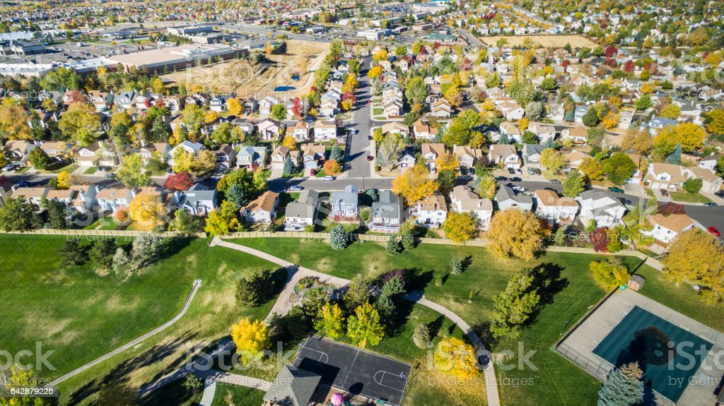 Aerial view of residential neighborhood stock photo