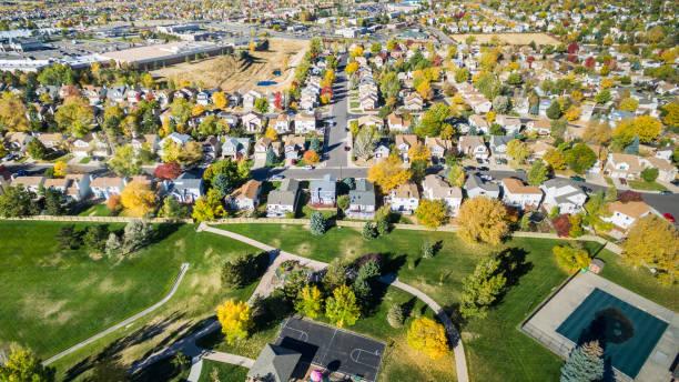 Aerial view of residential neighborhood stock photo