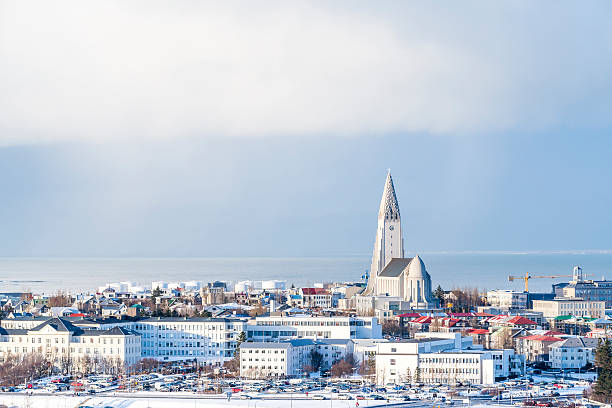 Aerial view of Reykjavik with the Hallgrimskirkja church Aerial view of Reykjavik with the Hallgrimskirkja church, Iceland in winter. Hallgrímskirkja church stock pictures, royalty-free photos & images