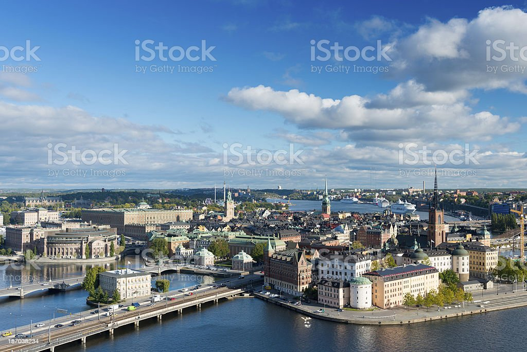 Aerial View of Riddarholmen in Stockholm in Sweden royalty-free stock photo