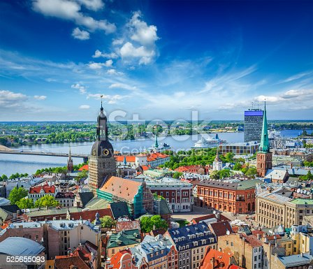 istock Aerial view of Riga center from St. Peter's Church, Latvia 525655093