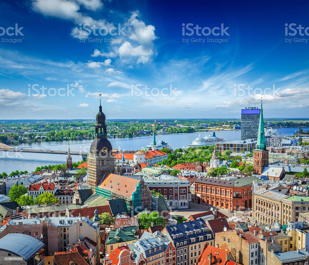 Aerial view of Riga center from St. Peter's Church, Latvia stock photo