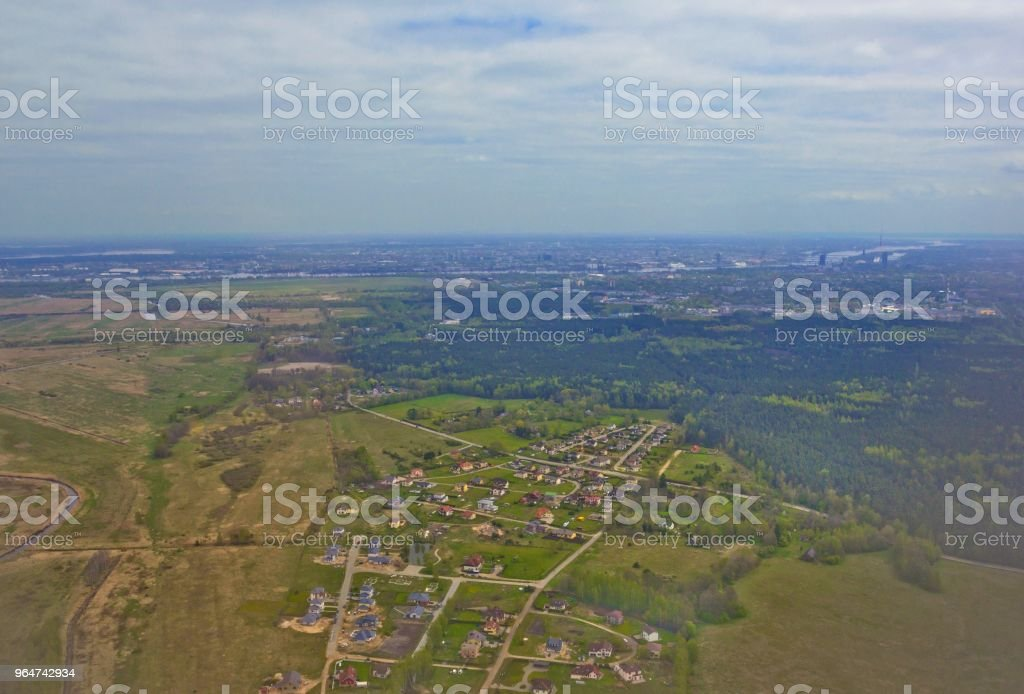 Aerial view of Riga, Latvia taken from the airplane royalty-free stock photo