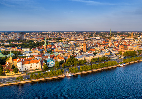 Aerial view of Riga old town at sunset and Northern Dvina River. Latvia