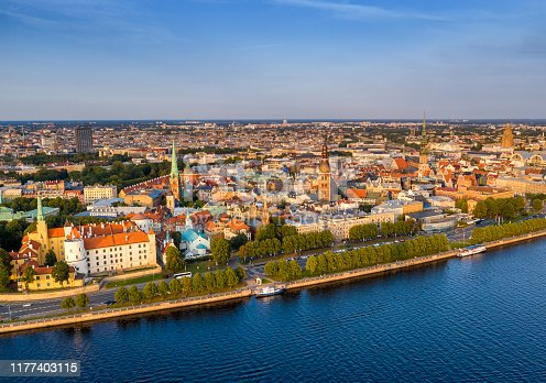 istock Aerial view of Riga old town at sunset and Northern Dvina River. Latvia 1177403115