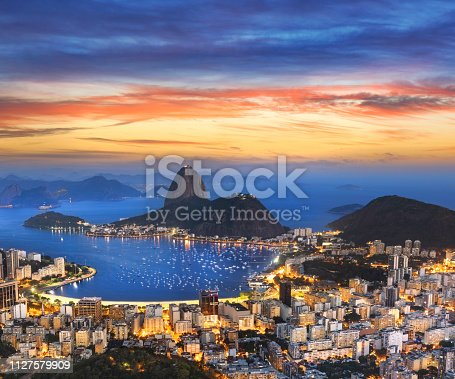 Aerial view of Rio de Janeiro Brazil with Guanabara Bay and Sugar Loaf at night