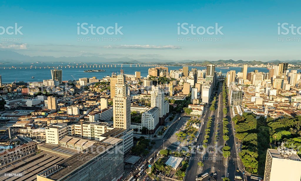 Aerial view of Rio de Janeiro Downtown in late afternoon stock photo