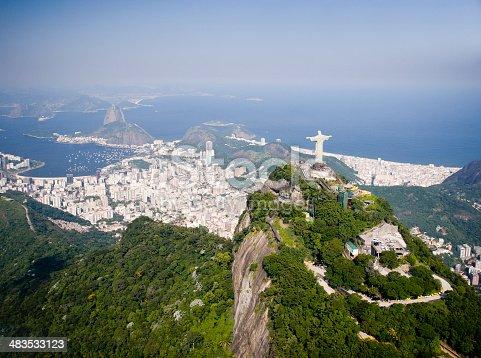 Aerial view of Corcovado and Sugar Loaf Mountain in Rio de Janeiro, Brazil.