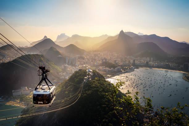 aerial view of rio de janeiro with urca and sugar loaf cable car and corcovado mountain  - rio de janeiro, brazil - rio de janeiro imagens e fotografias de stock