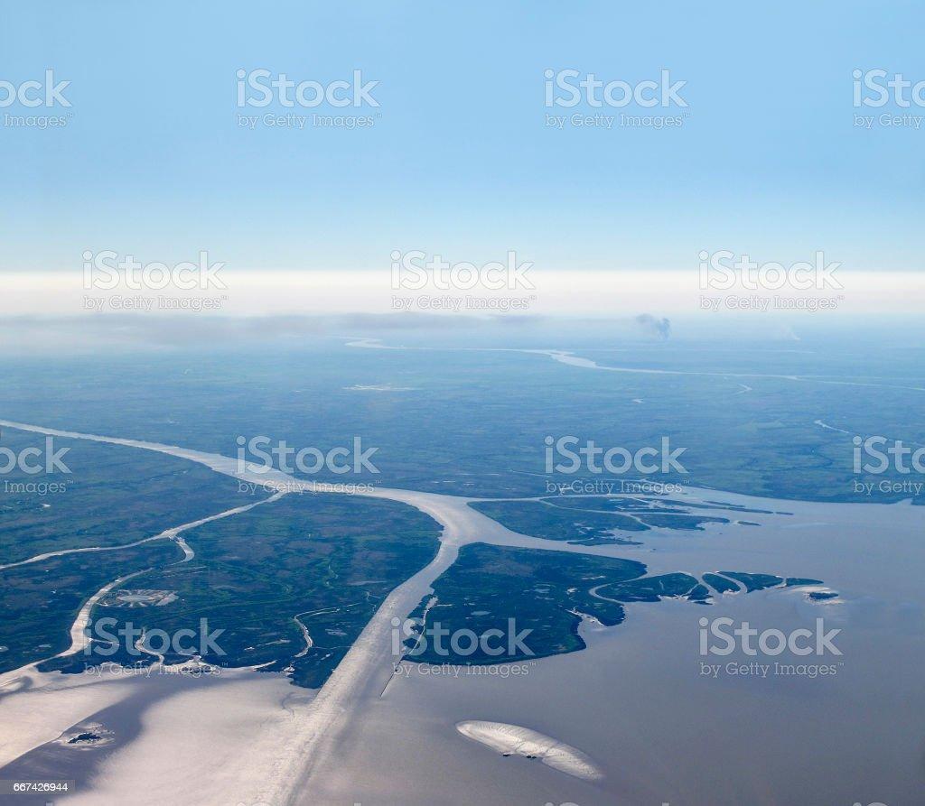 Aerial view of Rio de la Plata (River of Silver in English). Argentina. stock photo
