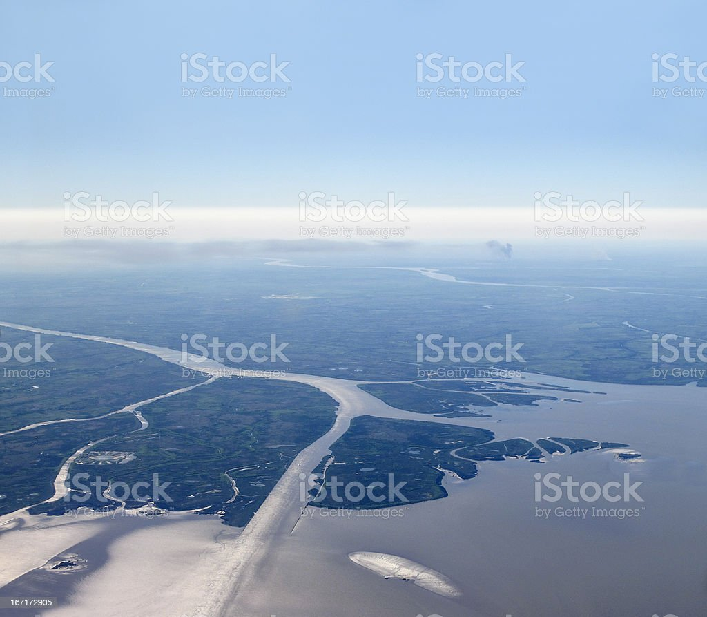Aerial view of Rio de la Plata stock photo